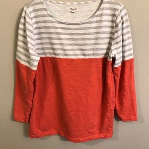 Madewell coral gray striped sweater size Medium